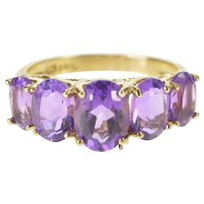 10K Five Stone Oval Amethyst February Birthstone Ring Size 6.25 Yellow Gold [QWQC]