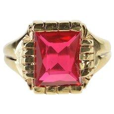 10K Retro Sim. Ruby Ornate Men's Fashion Cocktail Ring Size 9.75 Yellow Gold [QRQX]