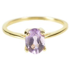 14K Oval Amethyst Solitaire February Birthstone Ring Size 8.25 Yellow Gold [QRXQ]