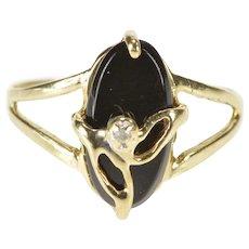 10K Oval Black Onyx Diamond Overlay Leaf Design Ring Size 5 Yellow Gold [QRXQ]