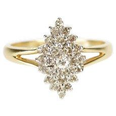 10K 0.30 Ctw Oval Diamond Cluster Fashion Ring Size 6 Yellow Gold [QRXQ]