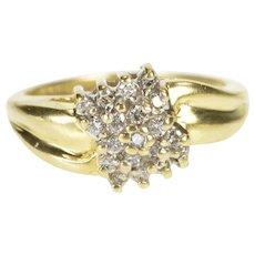 10K Diamond Squared Cluster Freeform Statement Ring Size 6 Yellow Gold [QRXQ]
