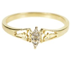 10K Marquise Diamond Cluster Anniversary Promise Ring Size 6 Yellow Gold [QRXQ]