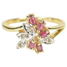 14K Diamond Synthetic Ruby Bypass Cluster Ring Size 7.25 Yellow Gold [QRXW]