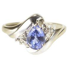 10K Pear Tanzanite Diamond Accent Bypass Ring Size 5 White Gold [QRXQ]