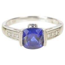 10K Cushion Syn. Sapphire Diamond Engagement RIng Size 7 White Gold [QRXQ]