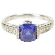10K Cushion Syn. Sapphire Diamond Engagement RIng Size 7 White Gold [QRXW]