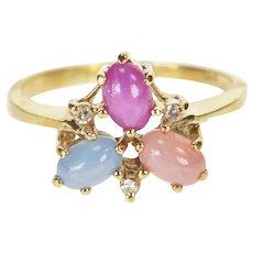 14K Oval Natural Star Sapphire Diamond Retro Ring Size 8 Yellow Gold [QRXQ]