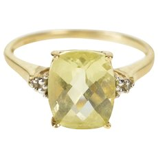 10K Green Quartz Diamond Statement Cocktail Ring Size 8.25 Yellow Gold [QRXQ]