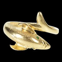 14K Dolphin Wrap Design Textured Emerald Bypass Ring Size 6.5 Yellow Gold [QRQQ]