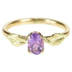 14K Oval Amethyst Leaf Accent Design Fashion Ring Size 3.75 Yellow Gold [QRQQ]