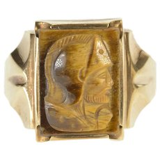 10K Carved Tiger's Eye Intaglio Men's Fashion Ring Size 11.75 Yellow Gold [QRQQ]