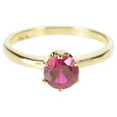 10K Round Sim. Ruby Solitaire Fashion Statement Ring Size 6 Yellow Gold [QRXQ]