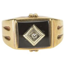 10K Squared Black Onyx Diamond Overlay Statement Ring Size 7 Yellow Gold [QRQQ]