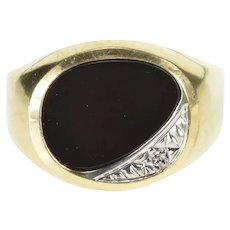10K Oval Black Onyx Diamond Accent Men's Fashion Ring Size 10 Yellow Gold [QRQQ]