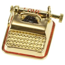 14K 3D Enamel Articulated Love You Typewriter Charm/Pendant Yellow Gold [QRXW]