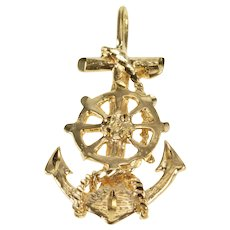 14K Ship Wheel Cross Anchor Hope Faith Direction Pendant Yellow Gold  [QRXQ]