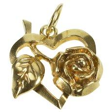 10K Rose Flower Leaf Accent Heart Romantic Gift Charm/Pendant Yellow Gold [QRQQ]