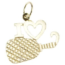14K I Love Ping Pong Textured Paddle Table Tennis Charm/Pendant Yellow Gold [QRQQ]