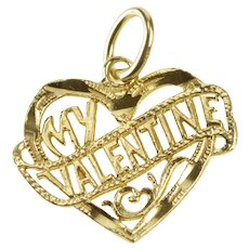 14K My Valentine Banner Scroll Heart Love Charm/Pendant Yellow Gold  [QRXQ]