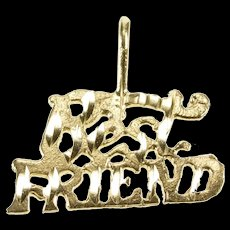 14K Best Friends Word Cut Out Friendship Charm/Pendant Yellow Gold [QRXW]