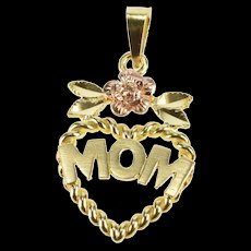 10K Two Tone Mom Heart Rose Accent Mother's Day Charm/Pendant Yellow Gold [QRXW]