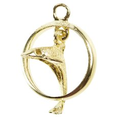 14K 3D Ornate Articulated Dolphin Jumping Ring Charm/Pendant Yellow Gold [QRXW]