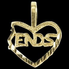 "14K Best Friends Half Heart ""Ends"" Friendship Charm/Pendant Yellow Gold [QRXW]"