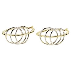 14K Two Tone Pierced Design Oval Fashion Hoop Earrings Yellow Gold  [QRXQ]
