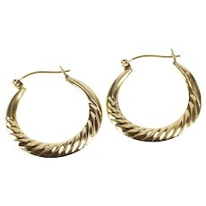 10K Puffy Grooved Twist Design Retro Fashion Hoop Earrings Yellow Gold [QRQQ]