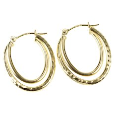 14K Two Tiered Patterned Oval Hoop Fashion Earrings Yellow Gold [QRQQ]