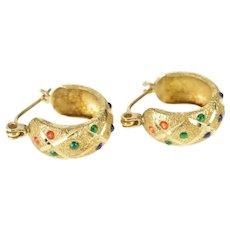 14K Colorful Resin Checkered Pattern Fashion Hoop Earrings Yellow Gold [QRQQ]