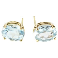 14K Oval Blue Topaz Prong Set Solitaire Stud Earrings Yellow Gold  [QRXQ]