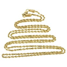 "10K 1.5mm Rolling Twist Rope Fashion Link Chain Necklace 24.75"" Yellow Gold  [QRXQ]"