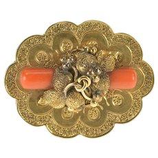 14K Victorian Ornate Coral Pillar Floral Motif Pin/Brooch Yellow Gold  [QRXQ]