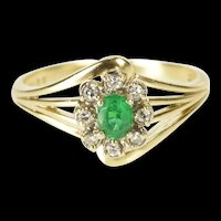 14K 0.25 Ctw Emerald Diamond Halo Engagement Ring Size 6.75 Yellow Gold [QRQQ]