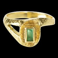 18K 0.30 Ct Emerald Cut Emerald Ornate Fashion Ring Size 5.75 Yellow Gold [QRQQ]