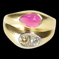 10K 1930's Ornate Syn. Ruby Diamond Tiered Look Ring Size 6 Yellow Gold [QRQQ]