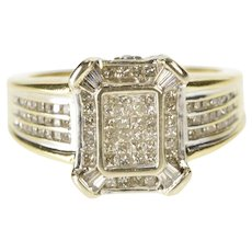 14K 1.00 Ctw Diamond Cluster Squared Engagement Ring Size 6.75 Yellow Gold [QRXQ]