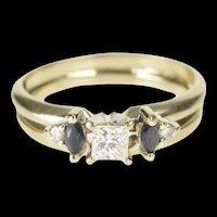 14K 0.46 Ctw Princess Diamond Sapphire Engagement Ring Size 5.75 White Gold [QRQQ]