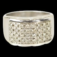 14K 0.75 Ctw Squared Diamond Encrusted Wide Band Ring Size 7.25 Yellow Gold [QRQQ]