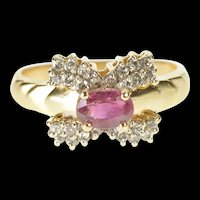 14K 0.91 Ctw Oval Ruby Diamond Inset Engagement Ring Size 6.75 Yellow Gold [QRQQ]