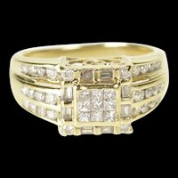 10K 0.65 Ctw Princess Diamond Cluster Engagement Ring Size 5.75 Yellow Gold [QRQQ]