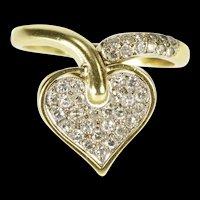 14K 0.36 Ctw Pave Diamond Encrusted Heart Fashion Ring Size 9 Yellow Gold [QRQQ]