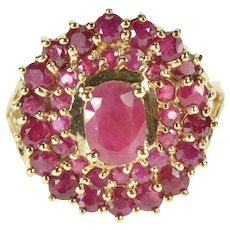 10K 2.31 Ctw Oval Ruby Encrusted Halo Cocktail Ring Size 6 Yellow Gold [QRXQ]
