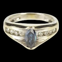 14K 0.85 Ctw Marquise Sapphire Diamond Engagement Ring Size 5.5 Yellow Gold [QRQQ]