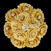 14K 0.30Ctw Diamond Retro Ornate Cluster Cocktail Ring Size 7.25 Yellow Gold [QRQQ]