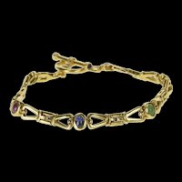 "14K 2.40 Ctw Ruby Emerald Sapphire Ornate Toggle Bracelet 7.5"" Yellow Gold [QRQQ]"