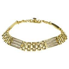 """14K 1.44 Ctw Ornate Diamond Men's Chain Fashion Bracelet 8.25"""" Yellow Gold [QRQQ]"""