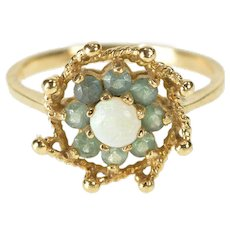 10K Natural Opal Beryl Halo Ornate Floral Cocktail Ring Size 6 Yellow Gold [QRXQ]
